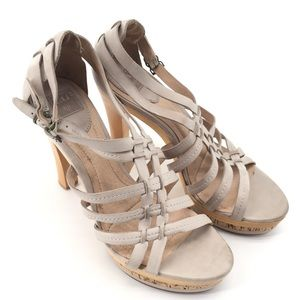 FRYE Kara Strappy Mixed-Platform Sandals Gray 8.5